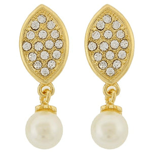 Pearl And Crystal Rhinestone Oval Dangle Earrings Gold