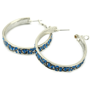 Rhinestone Hoop Earrings Blue