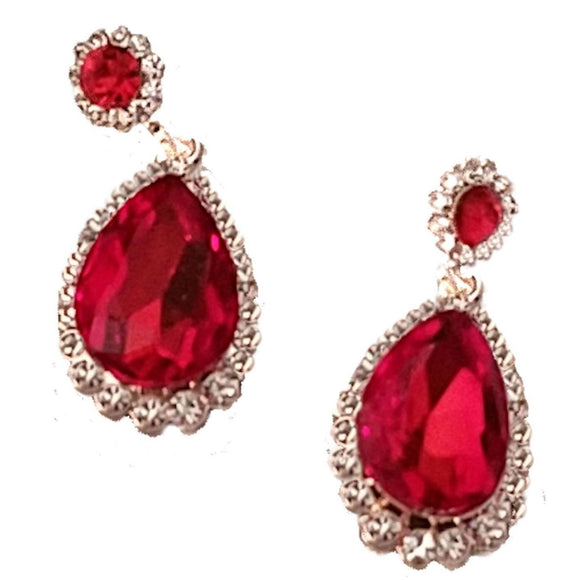 Ruby Rhinestone Teardrop Dangle Earrings Earrings