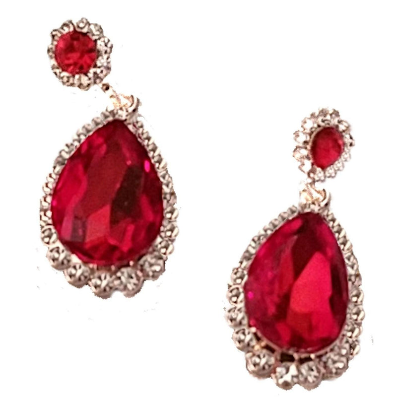 Earrings - Ruby Rhinestone Teardrop Dangle Earrings
