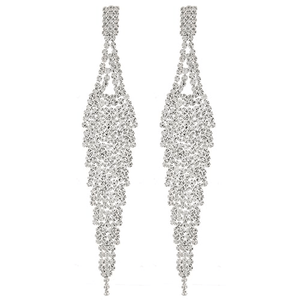 Silver Sparkling Crystal Rhinestone Post Dangle Earrings