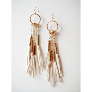 Suede Shoulder Duster Tassel Earrings White