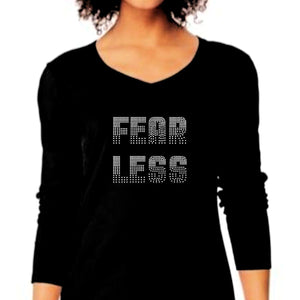 Fearless Rhinestone Self Expression Tee S / Black Long T-Shrts