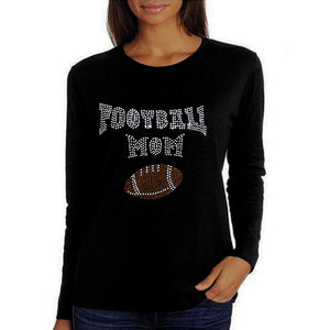 Football Mom Rhinestone T Shirt Xl / Black Long T-Shrts