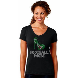 Football Mom Rhinestone Stiletto T-Shirt