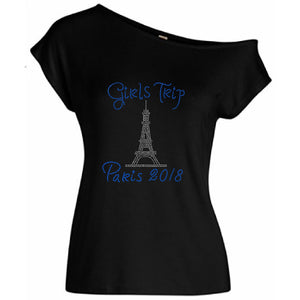 Girls Trip Paris Eiffel Tower Rhinestone Tee