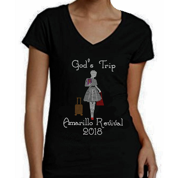 God's Trip Personalized Rhinestone Ministry T Shirt