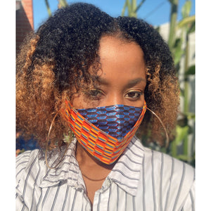 Orange Gold Blue Glitter African Face Mask