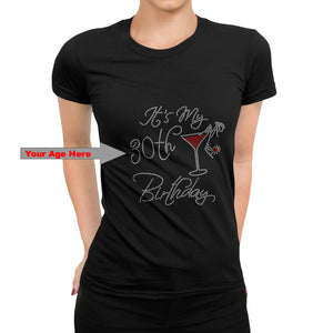 It's My Birthday Custom Rhinestone T Shirt