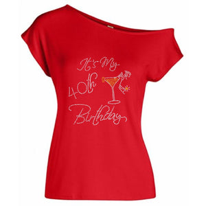 It's My Birthday Personalized Rhinestone Off Shoulder T Shirt