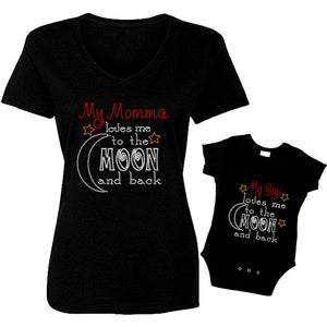 Loves Me to Moon and Back Mom and Baby T-Shirt Set