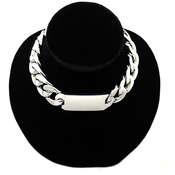 Celibrity Inspired Chunky Id Chain Choker Necklace Jewelry Silver Nacklace