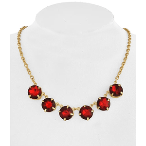 Gold and Garnet Color Rhinestone Necklace