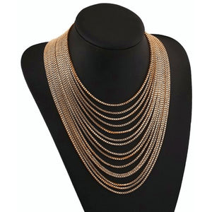 Gold Multi Strand Chain Bib Statement Necklace