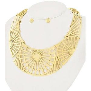 Gold Starburst Statement Bib Necklace Set Nacklace
