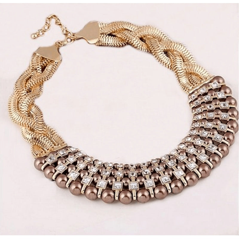 Nacklace - Gold Twisted Chain Coffee Colored Pearl Rhinestone Collar Necklace