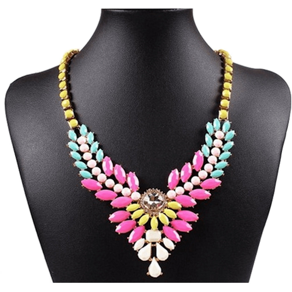 Nacklace - Multi Colored Beaded Cluster Flower Pendant Bib Necklace