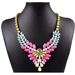 Multi colored Beaded Cluster Flower Pendant Bib Necklace