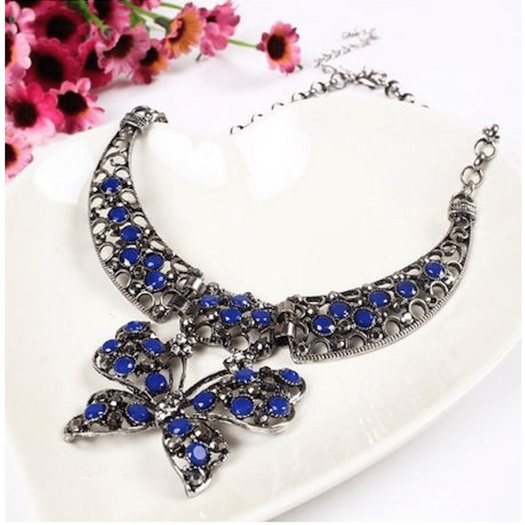 Nacklace - Rhinestone Butterfly Pendant Statement Necklace