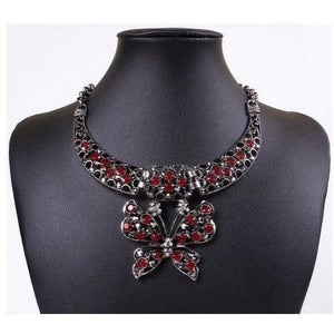 Rhinestone Butterfly Pendant Statement Necklace