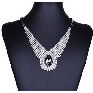 Shimmering Rhinestone Black Diamond Teardrop Bib Necklace