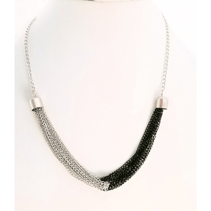 Silver and Black TwoTone Multi Stand Chain Necklace