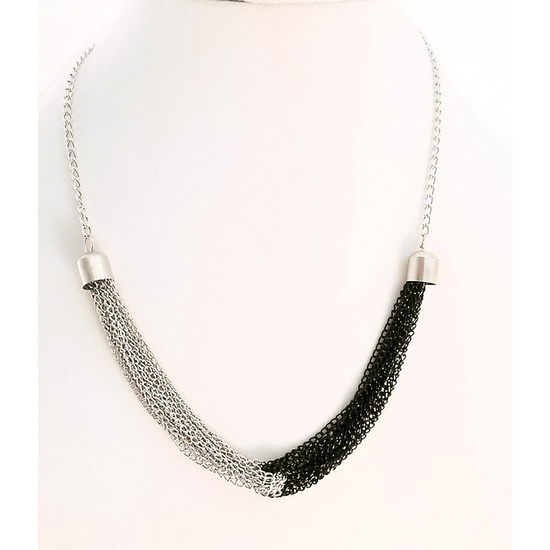 Nacklace - Silver And Black TwoTone Multi Stand Chain Necklace