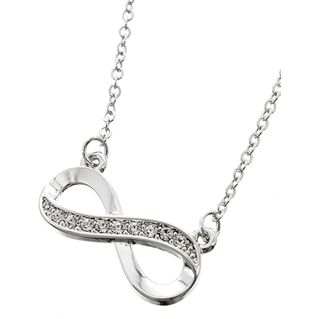 Nacklace - Silver Rhinestone Infinity Necklace