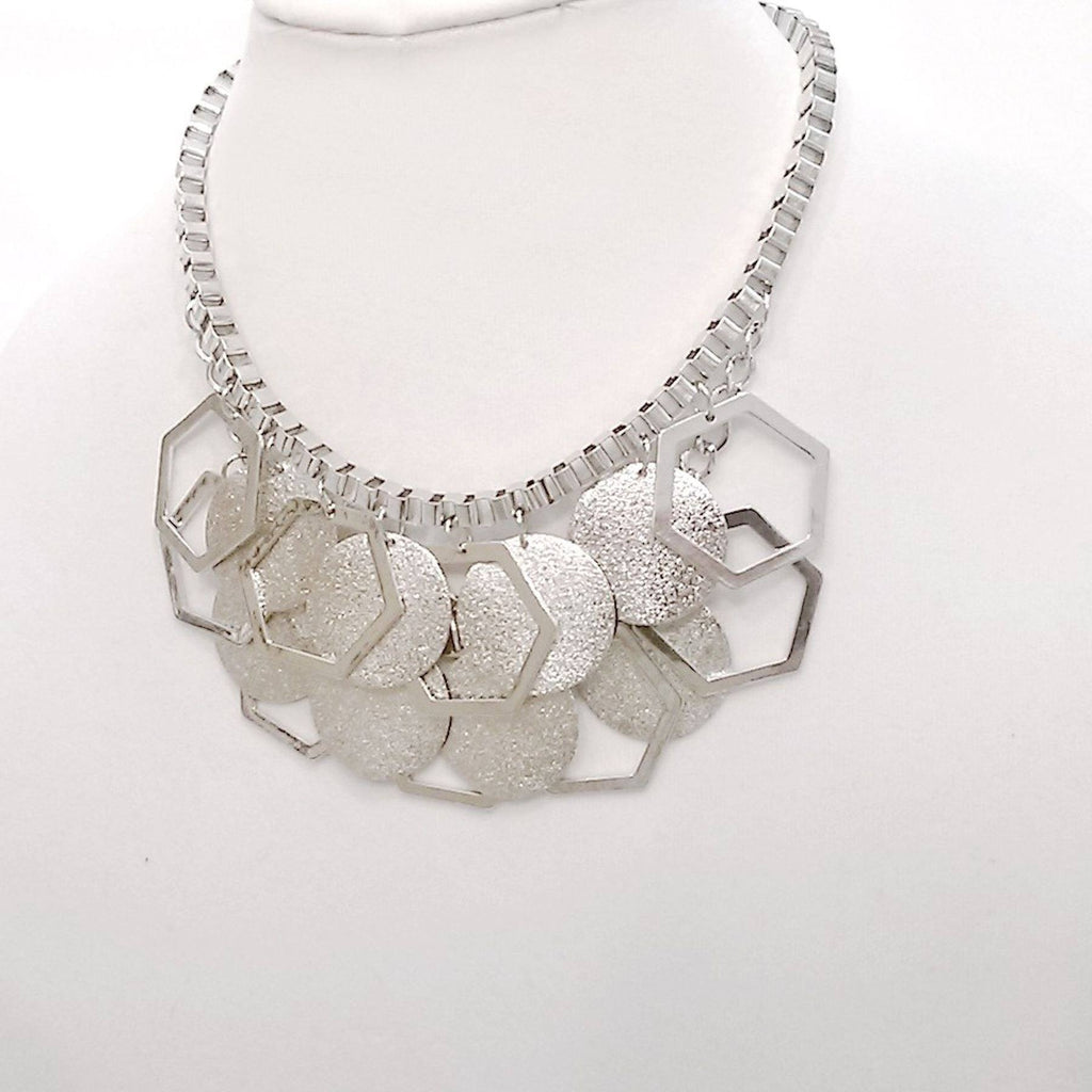 Nacklace - Silver Sparkling Stardust Box Chain Statement Bib Necklace