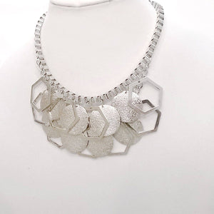 Silver Sparkling Stardust Box Chain Statement Bib Necklace