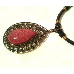 Tear Drop Cabochon Necklace Red Nacklace