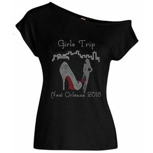 Girls Trip New Orleans Skyline Rhinestone Off Shoulder Tee