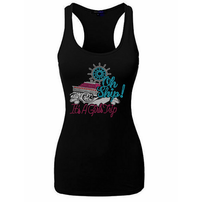 Oh Ship It's A Girls Trip Rhinestone Glitter Tank Top
