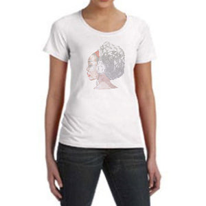 Rhinestone Afro Girl With Headphones Scoop Neck T-Shirt