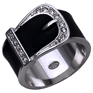 Black Cubic Zirconia Belt Ring 7 / Rings