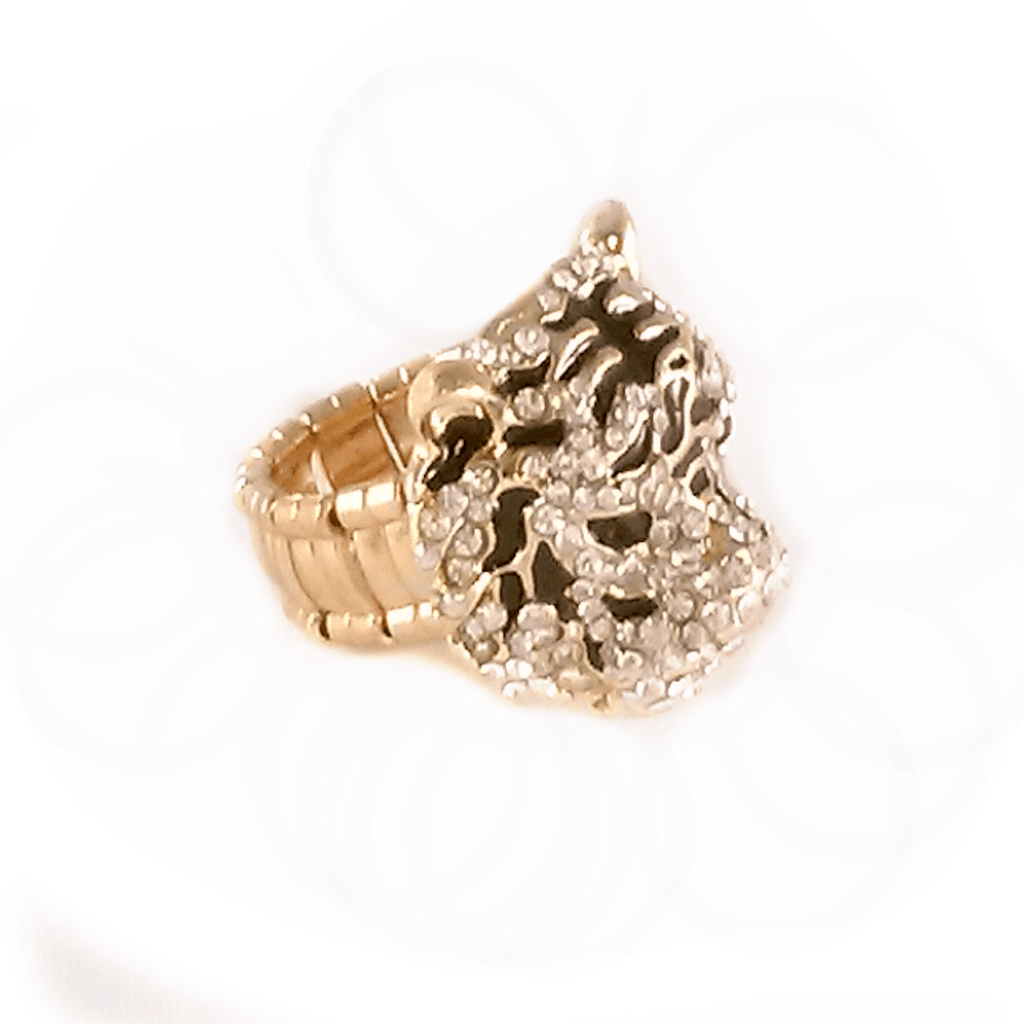 Rings - Gold Rhinestone Tiger Face Stretch Ring