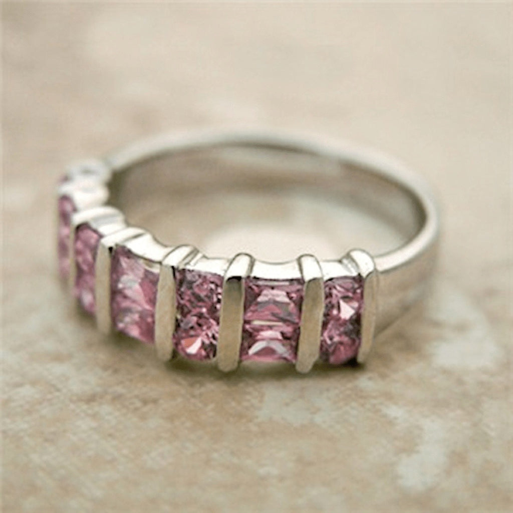 Rings - Pink Sterling Silver Cbic Zirconia Ring