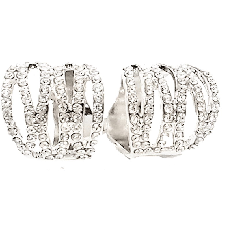 Rings - Silver Crystal Rhinestone Abstract Double Finger Ring