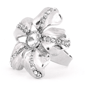 Silver Crystal Rhinestone Rose Ring One Size / Rings