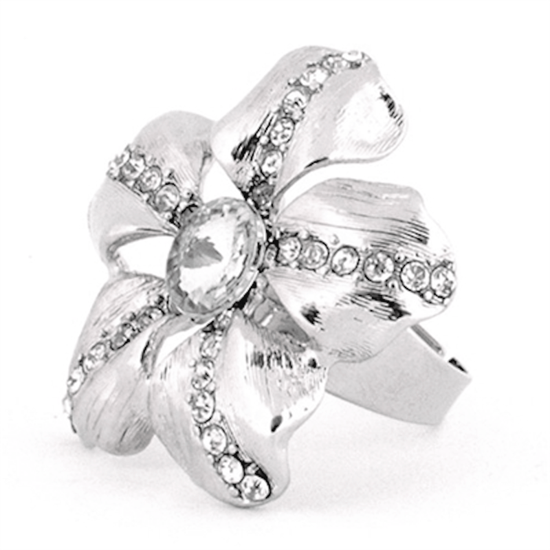 Rings - Silver Crystal Rhinestone Rose Ring