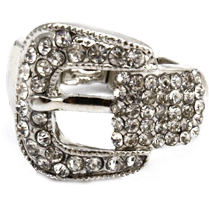 Silver Rhinestone Buckle Stretch Ring