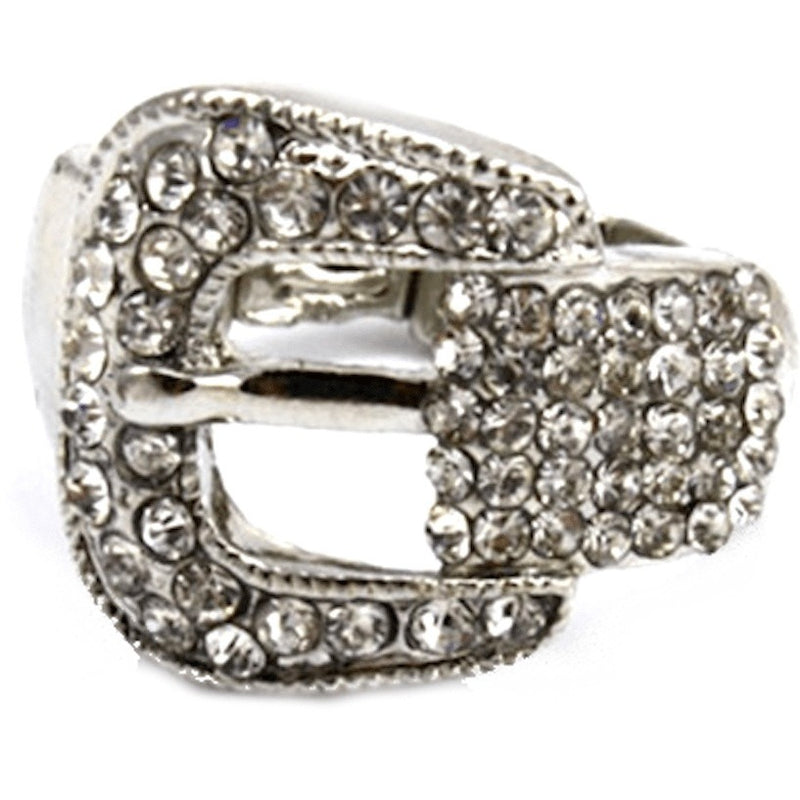 Rings - Silver Rhinestone Buckle Stretch Ring