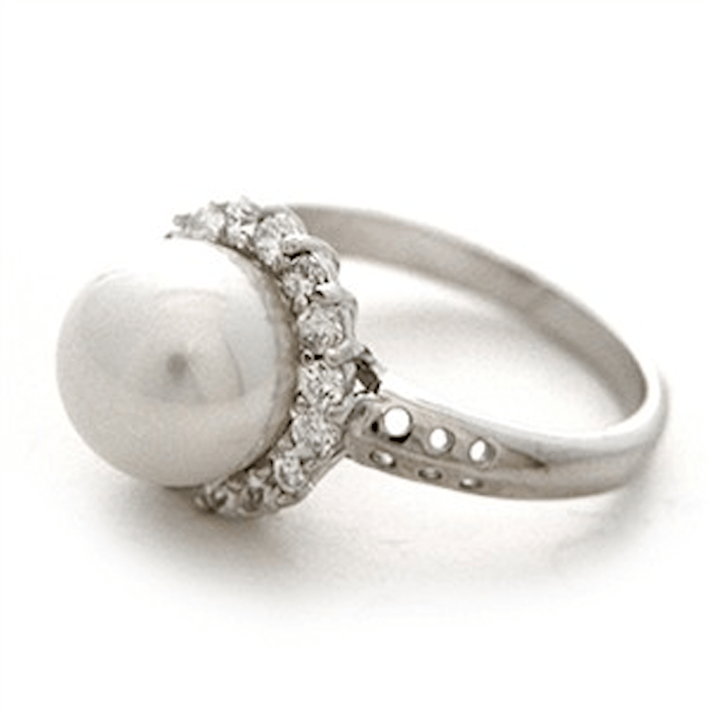 Rings - Sterling Silver Cubic Zirconia Pearl Ring