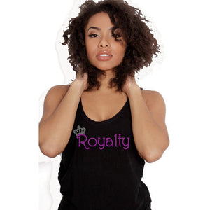 Royalty Rhinestone Self Expression Tank Top T Shirt S / Black Tops