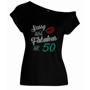 Sassy & Fabulous Personalized Rhinestone Off Shoulder Tee