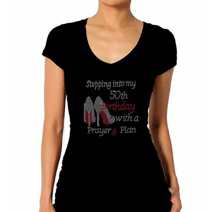 Stepping Into My Birthday With Prayer Plan Personalized Age Rhinestone Tee