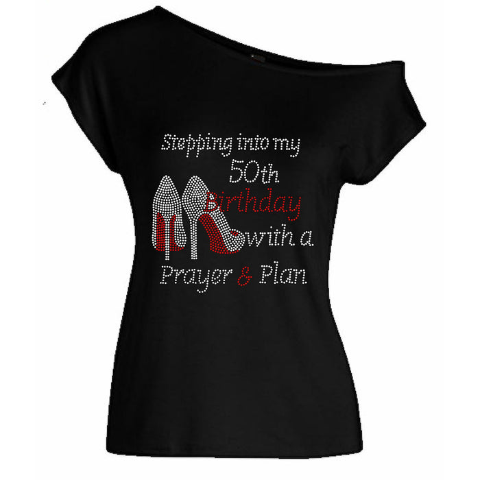 Stepping Into My Birthday With Prayer Plan Personalized Age Off Shoulder Tee