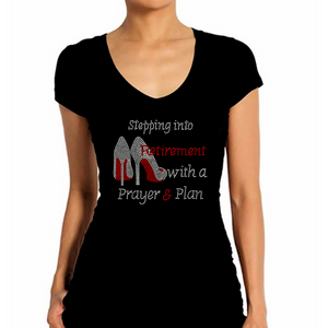 Stepping Into Retirement With Prayer and Plan Rhinestone T-Shirt