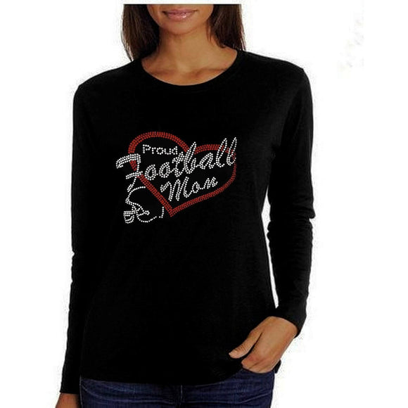 Proud Football Mom Rhinestone T Shirt Xl / Black Long T Shirts