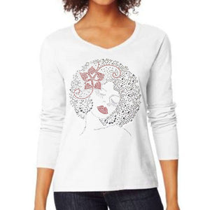 Billie Rhinestone Bling Afro Woman T Shirt
